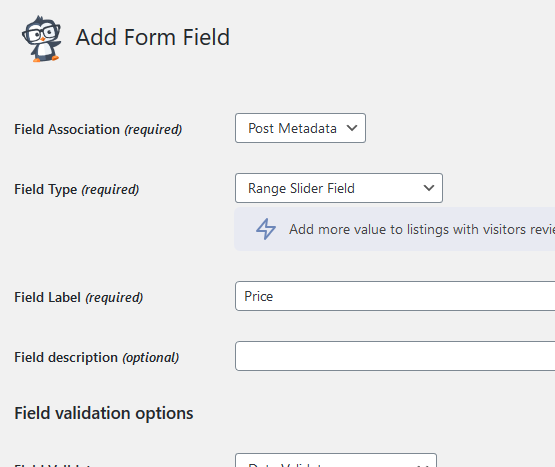 Admin Form Field Business Directory